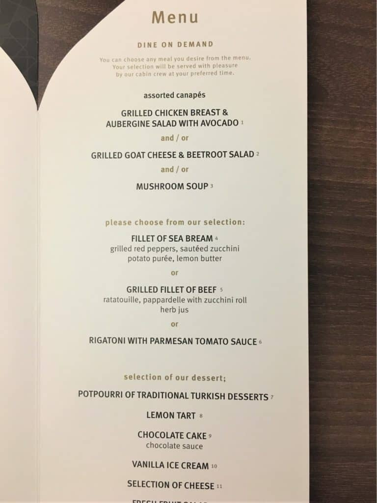 Menu onboard at TUrkish Airlines